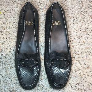 Stuart Weitzman metallic snakeskin loafers